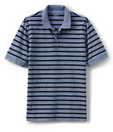 Lands' End Men's Tall Stripe Mesh Polo-Pale Gray Heather Stripe