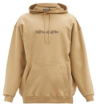 Balenciaga Symbolic-print Cotton-jersey Hooded Sweatshirt - Brown