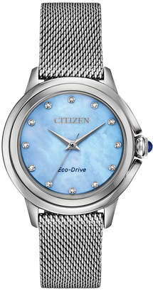 Citizen Eco-Drive Women Ceci Diamond-Accent Stainless Steel Mesh Bracelet Watch 32mm