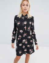 Fashion Union Shirt Dress In Floral Print With Tie Neck