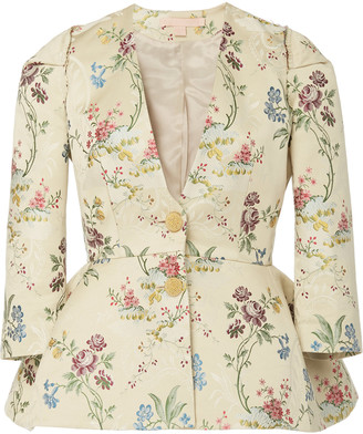 Brock Collection Floral-Jacquard Peplum Jacket