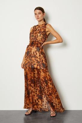Karen Millen Silk Animal Wrap Front Long Dress