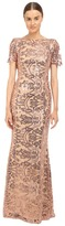 Marchesa Sequin Short Sleeve Gown w/ Cowl Back