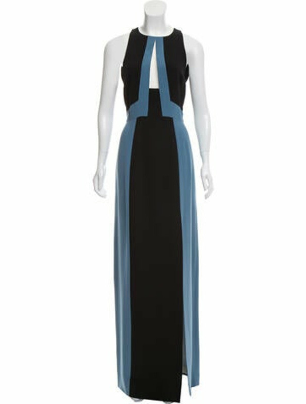 J. Mendel Sleeveless Colorblock Gown blue