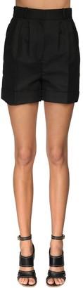 Alexander McQueen High Waist Cotton & Silk Shorts