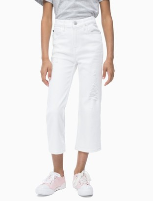 Calvin Klein Girls Straight Fit High Rise Cropped Jeans