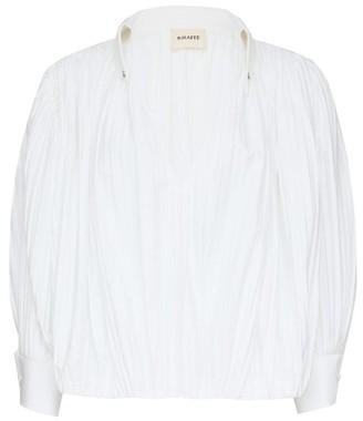 KHAITE Malone Crinkled Cotton-poplin Blouse - White