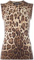 Dolce & Gabbana leopard print tank top - women - Silk/Cashmere - 42