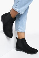 boohoo Suedette Flat Chelsea Boots