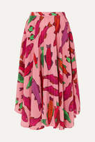 Riviera Lhd LHD - French Printed Silk Crepe De Chine Midi Skirt - Pink