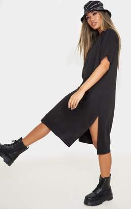 PrettyLittleThing Black Oversized Short Sleeve Sweat Midi Dress