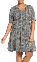 Gabby Skye Zip Detail Knit Jacquard Fit & Flare Dress (Plus Size)