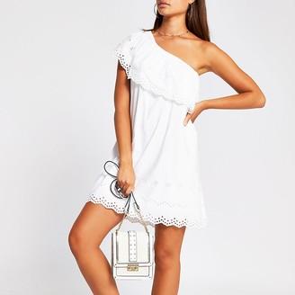 River Island White one shoulder cut work mini smock dress
