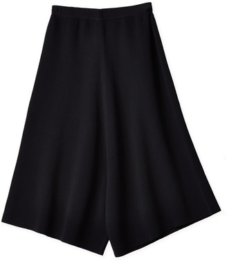 Oyuna Ama Knitted Cropped Black Cotton Skirt-Trousers