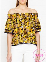 Whistles Sienna Citrus Print Bardot Silk Top