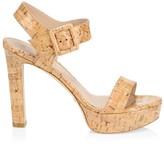 Stuart Weitzman Alesha Mix Media Cork Platform Sandals