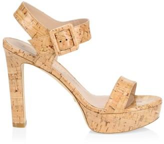 Stuart Weitzman Alesha Cork Platform Sandals