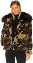 Jocelyn Faux Silver Fox Detachable Collar Camo Teddy Jacket