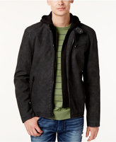 GUESS Men's Layered Faux-Suede Hoodie Jacket
