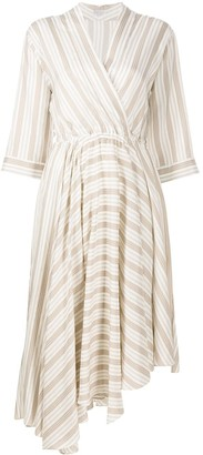 Brunello Cucinelli Multi-Stripe Asymmetric Hem Dress