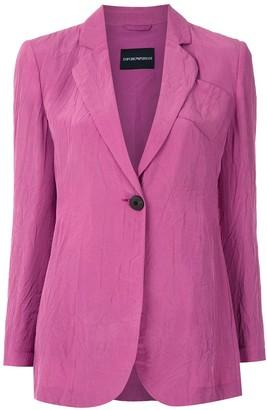 Emporio Armani Crinkled Single-Breasted Blazer