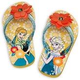 Disney Store Anna and Elsa - Frozen Sole Mates Flip Flops for Girls, Size 11/12