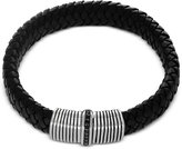 Effy Men's Black Sapphire (1/3 ct. t.w.) Black Leather Woven Bracelet in Sterling Silver