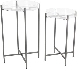 "Deco 79 84357 Metallic Iron and Acrylic Round Tray Tables 23"" x 27"""