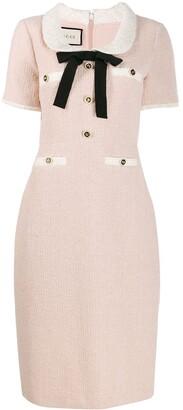 Gucci Ribbon Detailed Tweed Dress