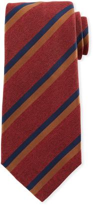 Kiton Two-Color Stripe Silk Tie, Red