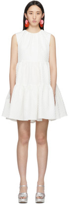MSGM White Ruffle A-Line Dress