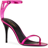 Saint Laurent Lexi Metallic Ankle-Strap Sandals