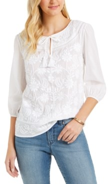 Style&Co. Style & Co Plus Size Cotton Embroidered Split-Neck Blouse, Created for Macy's