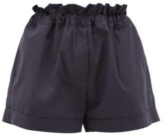 story. White Como Paperbag-waist Cotton Shorts - Womens - Navy