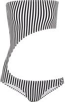 Norma Kamali Striped Cutout Bandeau Swimsuit - Black
