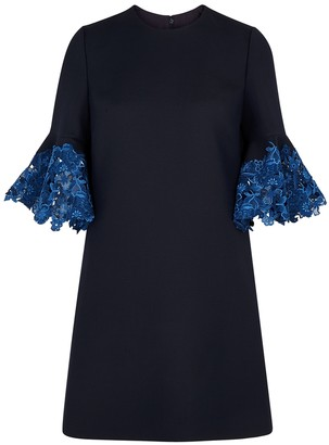 Valentino Navy lace-trimmed wool-blend dress