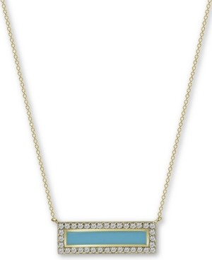 "Argentovivo Enamel & Cubic Zirconia Bar 18"" Pendant Necklace in 18k Gold-Plated Sterling Silver"