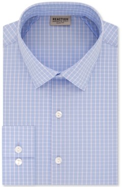 Kenneth Cole Reaction Men's Slim-Fit All Day Flex Performance Stretch Deep Blue Check Dress Shirt