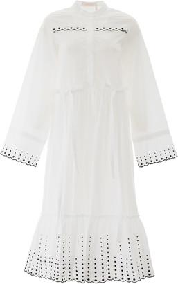 See by Chloe Polka Dot Embroidered Midi Dress