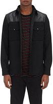 Rag & Bone Men's Key Leather Yoke Melton Shirt Jacket-BLACK