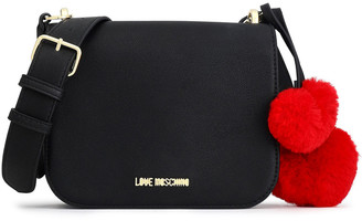 Love Moschino Pompom-embellished Faux Leather Shoulder Bag