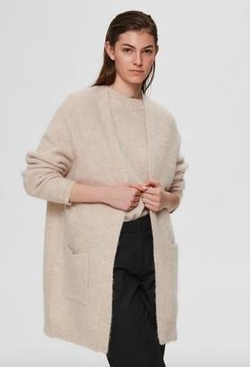 Selected Lulu Ls Knit Long Cardigan Birch Melange - XS