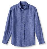 Classic Men's Long Sleeve Linen Shirt-Chambray Fish Print