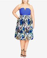 City Chic Trendy Plus Size Floral-Print Skirt