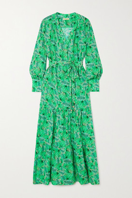 Melissa Odabash Sonja Belted Tiered Printed Woven Maxi Dress - Green