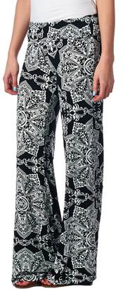 Brooke & Emma Women's Casual Pants ST27 - Black & White Mandala Palazzo Pants - Women