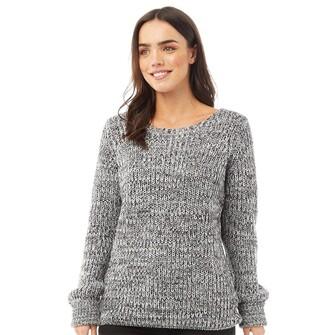 Fluid Womens Scoop Neck 3/4 Sleeve Sweater Black/White Twist