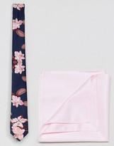 Asos Navy Floral Tie & Pink Pocket Square