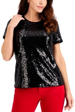 Charter Club Sequined Short-Sleeve Blouse, Created for Macy's