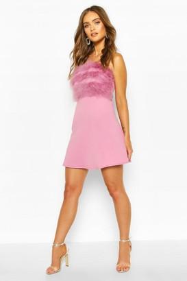 boohoo Scuba Feather Trim Mini Skater Dress
